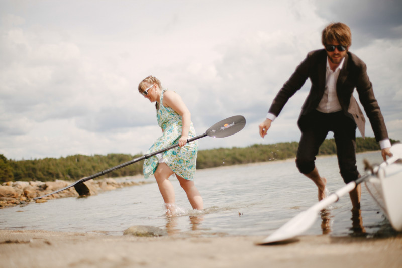 wedding canoe beach